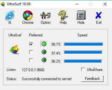 Ultrasurf VPN product interface