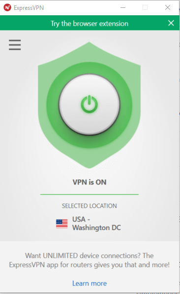 VPN connected screen