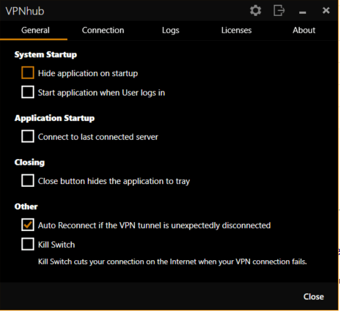 VPNhub product interface settings