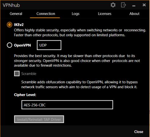 VPNhub protocols