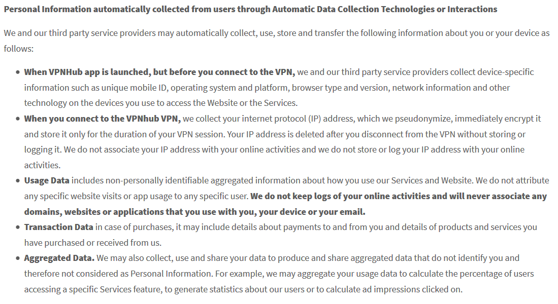 VPNhub personal information