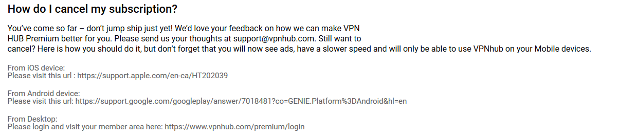 VPNhub refund policy