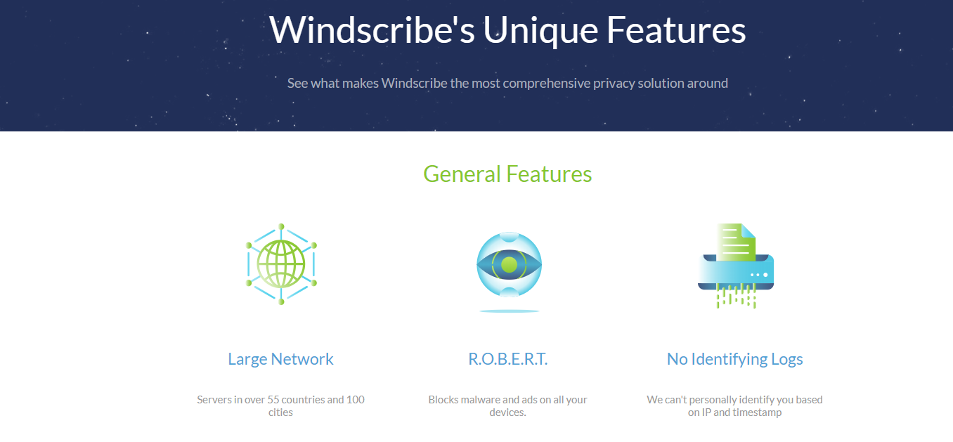 windscribe vpn features