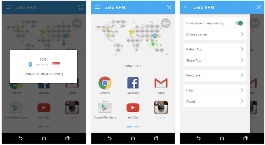 Zero VPN product interface screenshots