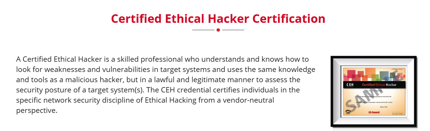 Ethical Hacker (CEH) certification