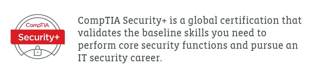 CompTIA Security+ certificate