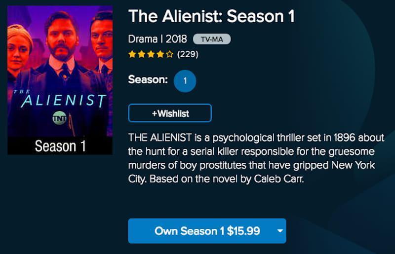 vudu alienist streaming thriller