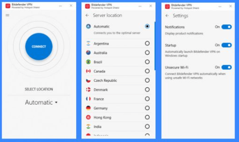 bitdefender vpn user interface