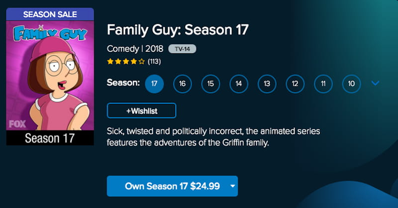 watch family guy on vudu
