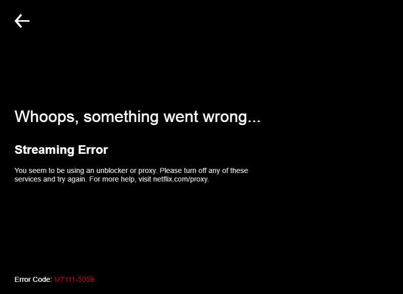Netflix Fail Error Prompt