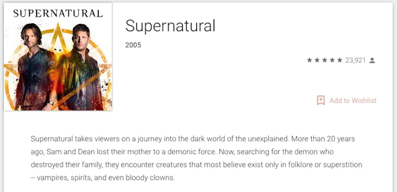 google play supernatural tv series