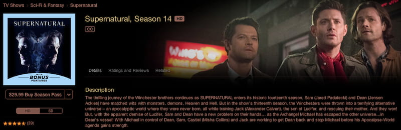 supernatural apple itunes buy season 14