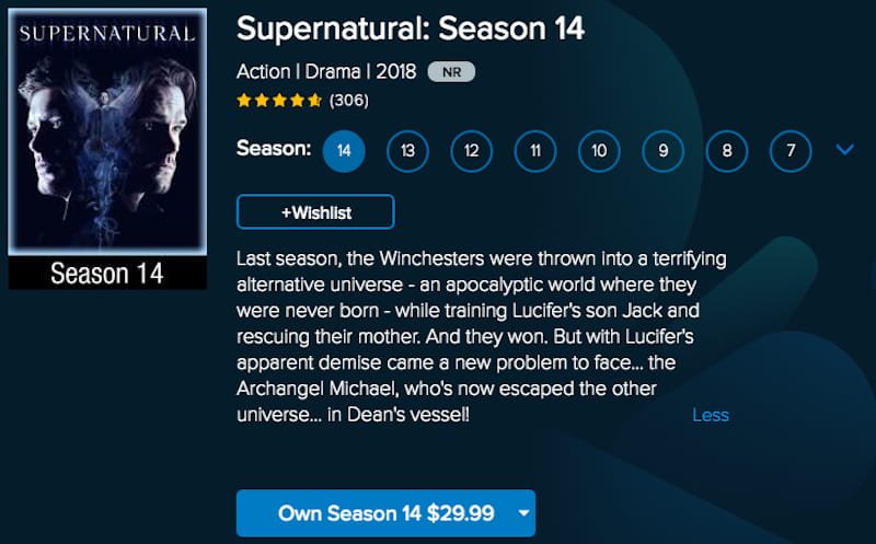 buy supernatural on vudu or stream