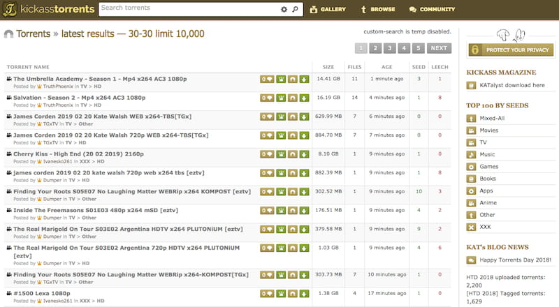kickass torrents search results
