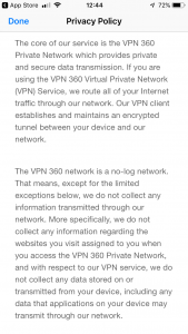 vpn 360 privacy policy