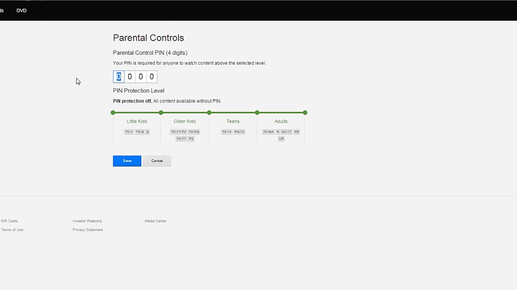 parental control pin setup