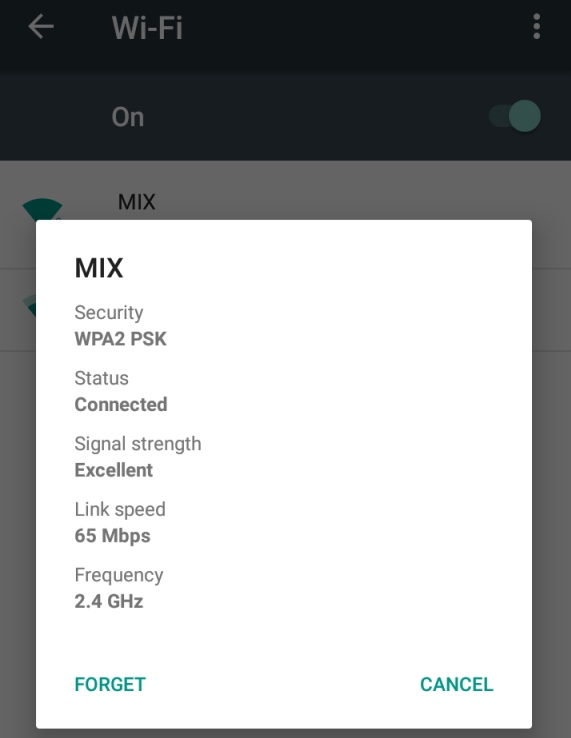 android wifi settings forget network