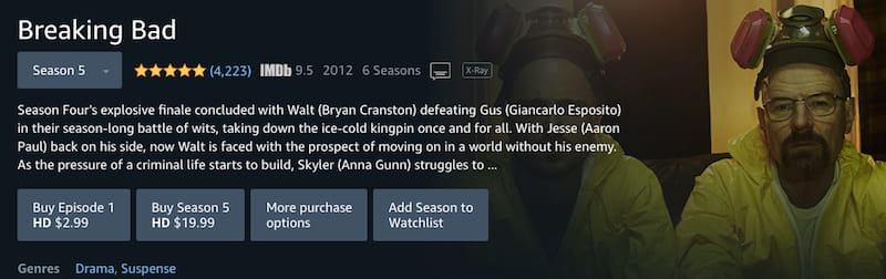 amazon prime breaking bad buy stream seasons
