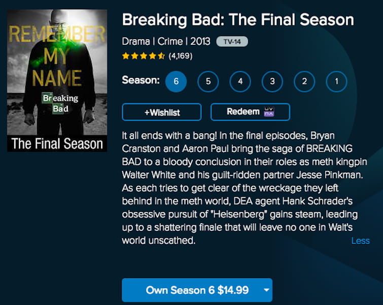 breaking bad vudu buy seasons stream