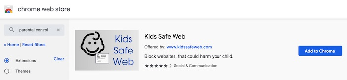 chrome web store extensions kids safe web