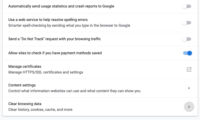 google chrome settings browsing data