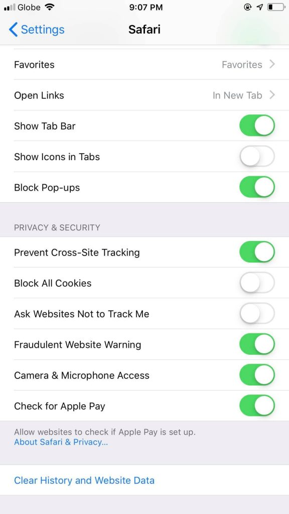 safari website content cookies settings
