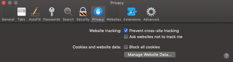safari privacy preferences settings cookies website data