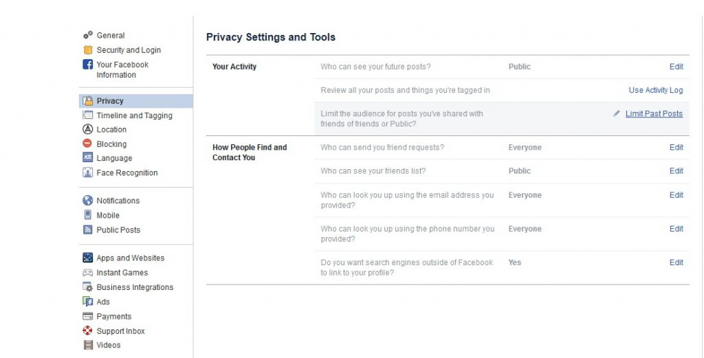 facebook privacy settings change