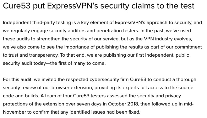 expressvpn no log audit
