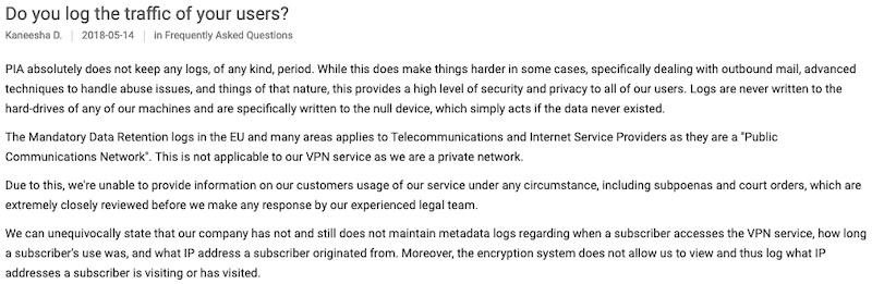 private internet access no log proven court