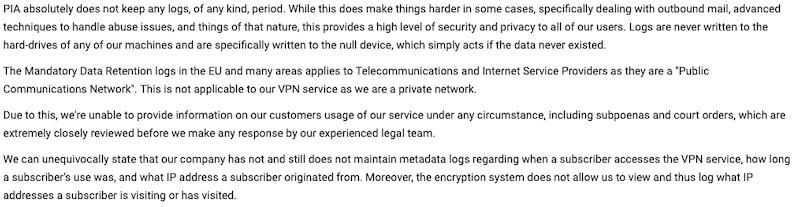 private internet access no log proven