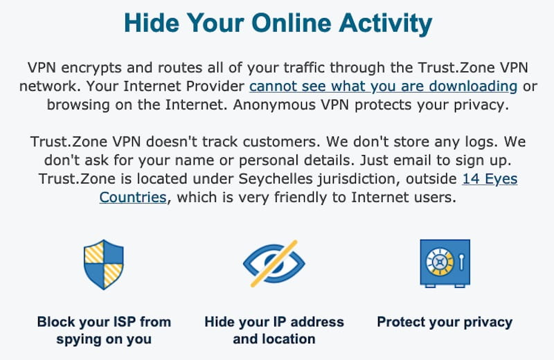 trustzone no log vpn