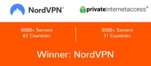 NordVPN vs PIA server comparison