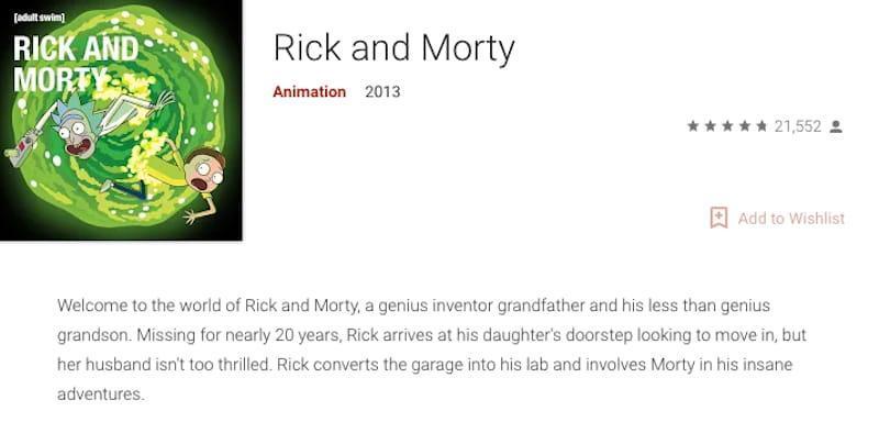 google android rick morty seasons buy stream