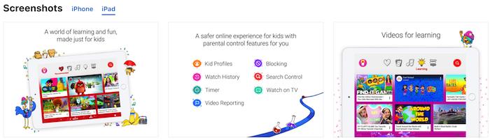 ipad screenshots youtube app for kids