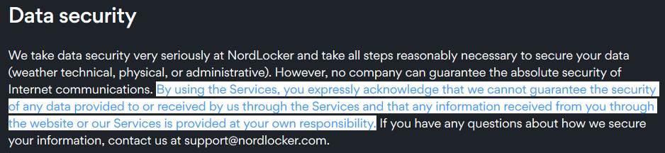 nordlocker data security policy