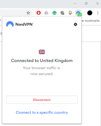 nordvpn connected to server