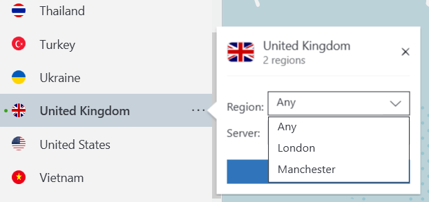 NordVPN server selector