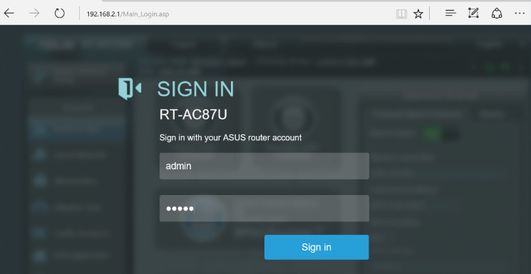 Router login screen