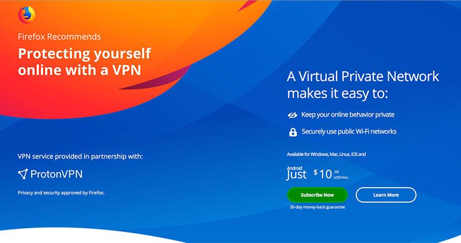 Mozilla and ProtonVPN partnership