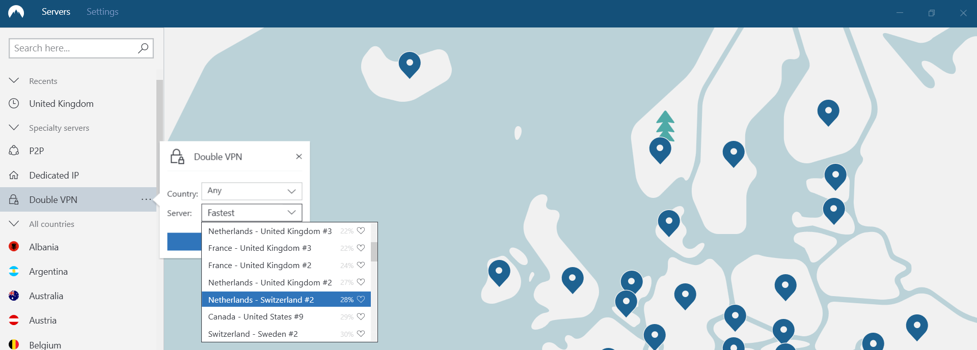 nordvpn double vpn selection