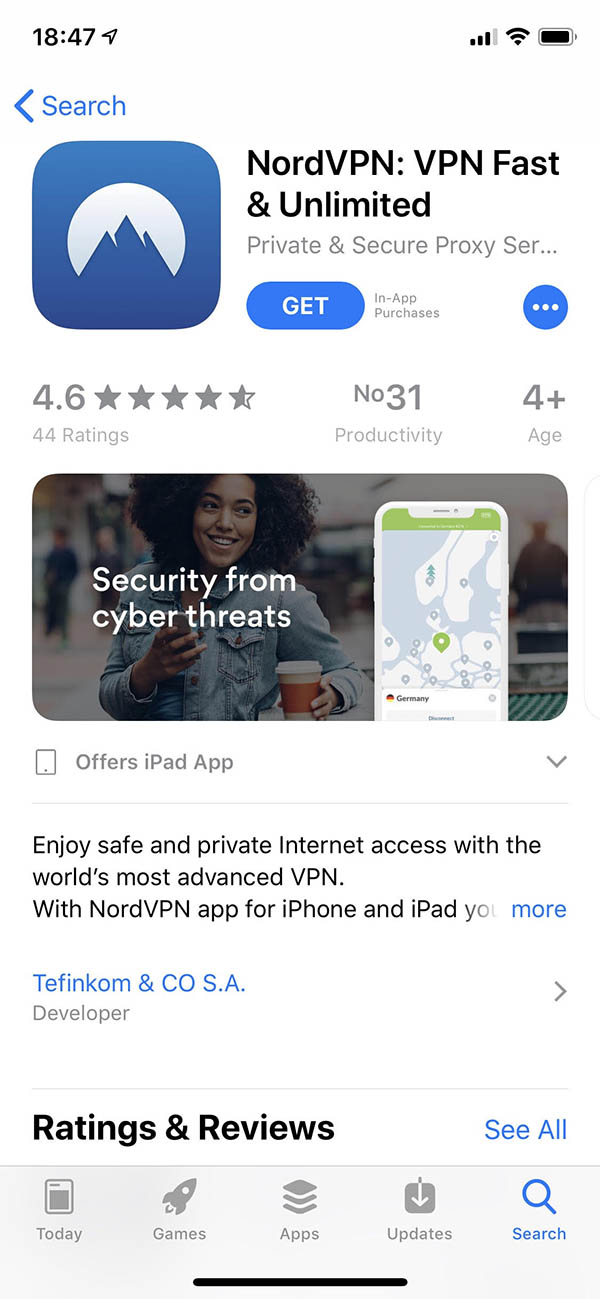 nordvpn ios store view