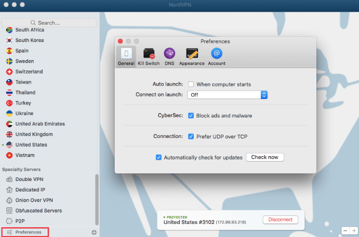nordvpn mac settings