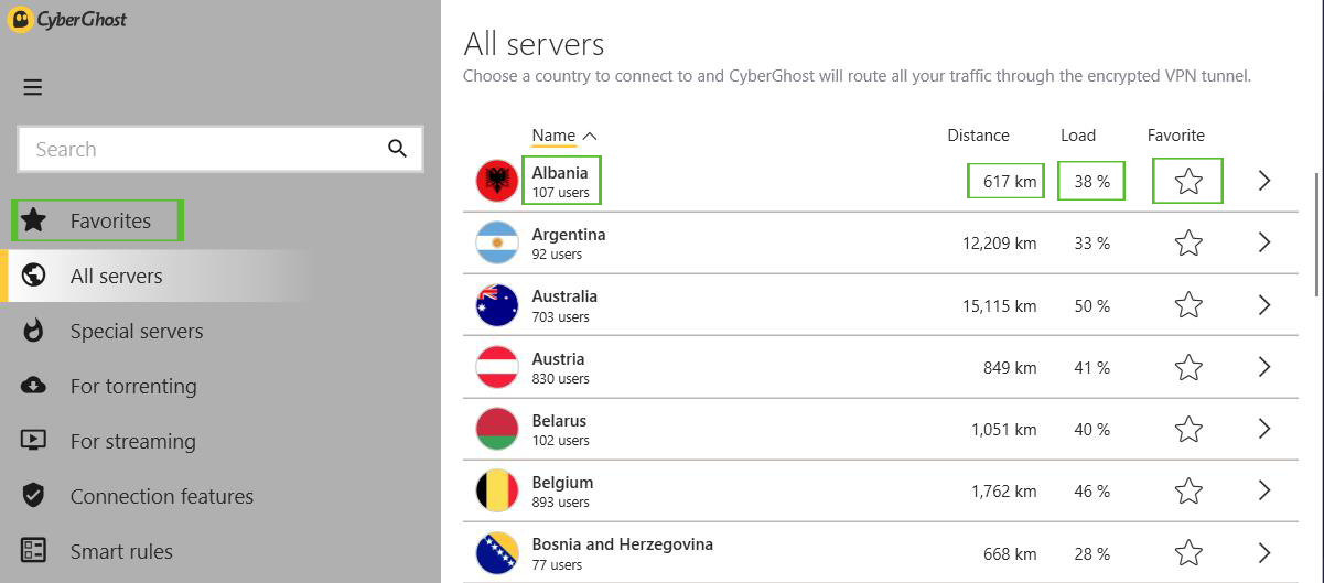 VPN server list features